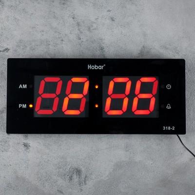 Часы электронные с будильником, настенные, красные цифры, 36х15 см