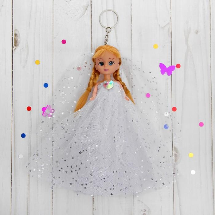 """Игрушка-брелок """"Куколка"""" на голове фата, платье в звёздочку"""