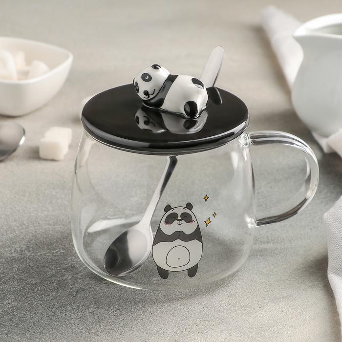 """Кружка 450 мл """"Панда"""", с керамической крышкой и ложкой, рисунок МИКС"""