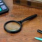 Magnifier 4x, d=6.5 cm, Classics, handle rounded, black, 7.5x16.5 cm