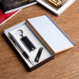 Набор подарочный 3в1 (ручка, кусачки, фонарик черный)