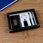 Набор подарочный 4в1 в коробке: 2 ручки, брелок, визитница, черный