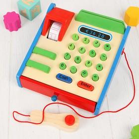 """Игрушка деревянная """"Касса"""", в наборе деревянные монетки, карта, кнопки нажимаются"""