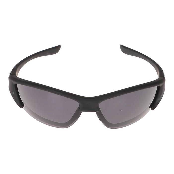 Очки спортивные для взрослых, солнцезащитные, дужки вытянутые, оправа и линзы чёрные