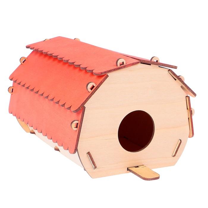 "Скворечник ""Круглый домик"" красная крыша, 24 х 12 х 15"