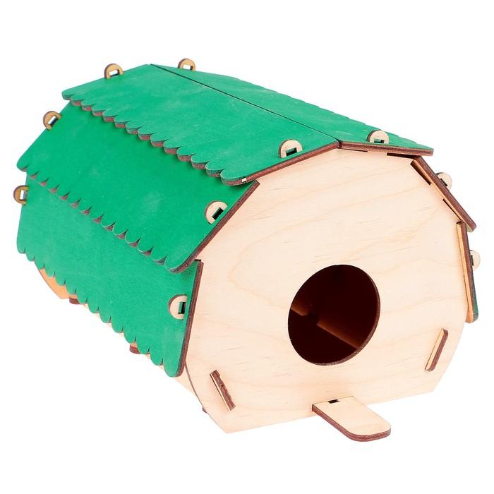"Скворечник ""Круглый домик"" зелёная крыша, 24 х 12 х 15"