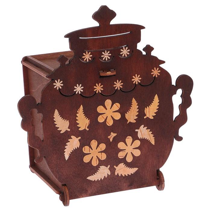 Чайный домик «Самовар», с инкрустацией берестой, с откидной крышкой, 17,1х11х18 см
