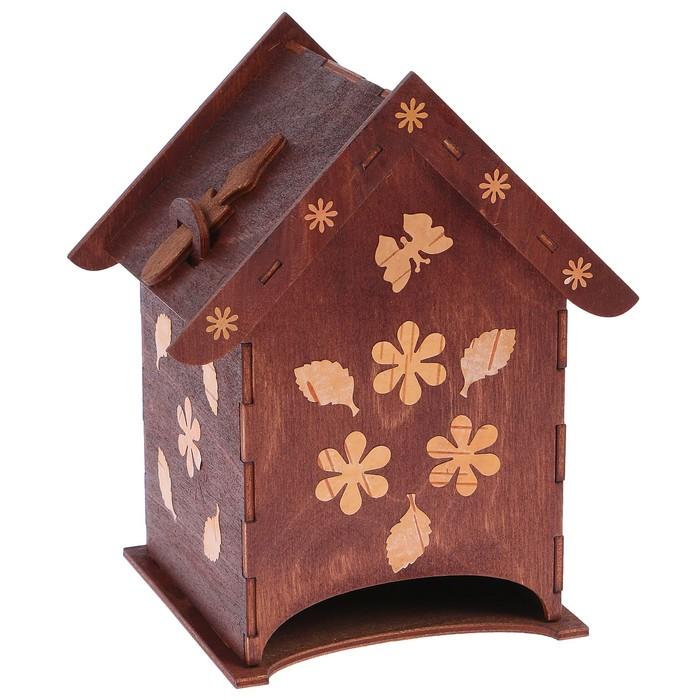 Чайный домик «Домик», с инкрустацией берестой, со съёмной крышкой, 11х14,5х17,3 см