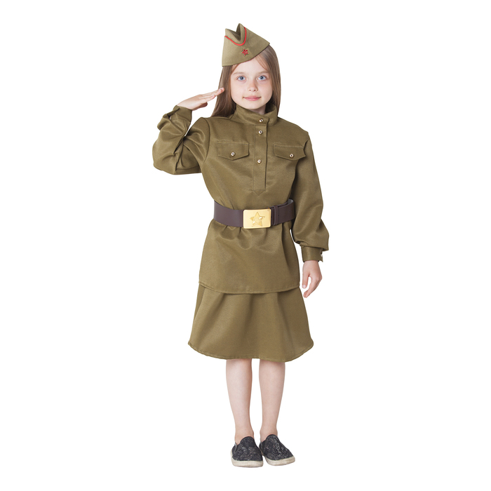 Костюм военный для девочки: гимнастёрка, юбка, ремень, пилотка, рост 110-120 см - фото 105522004