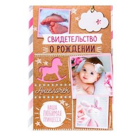 Папка для свидетельства о рождении «Крафт», для девочки, под новый формат, 23 х 17 см
