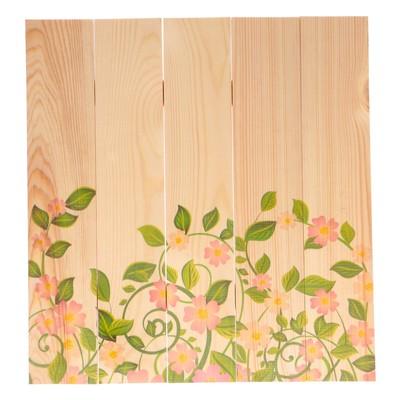 """Фотофон из натурального дерева """"Цветы"""", 50х50см"""