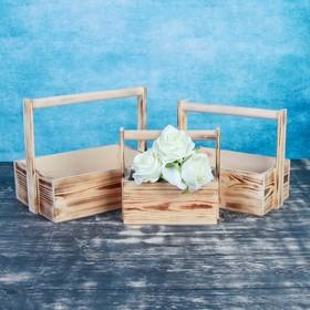 """Набор кашпо деревянных подарочных Элегант """"Классик"""", 3 в 1, с ручкой, обжиг - фото 7360208"""