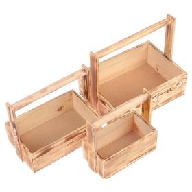 """Набор кашпо деревянных подарочных Элегант """"Классик"""", 3 в 1, с ручкой, обжиг - фото 7360210"""