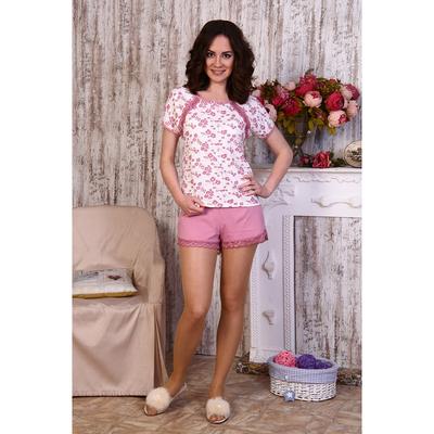 Пижама женская (футболка, шорты) № 637 цвет розовый, р-р 44