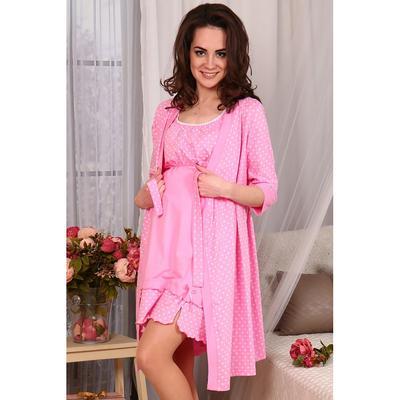 Комплект для беременых и кормящих (халат, сорочка) № 726 цвет розовый, р-р 46