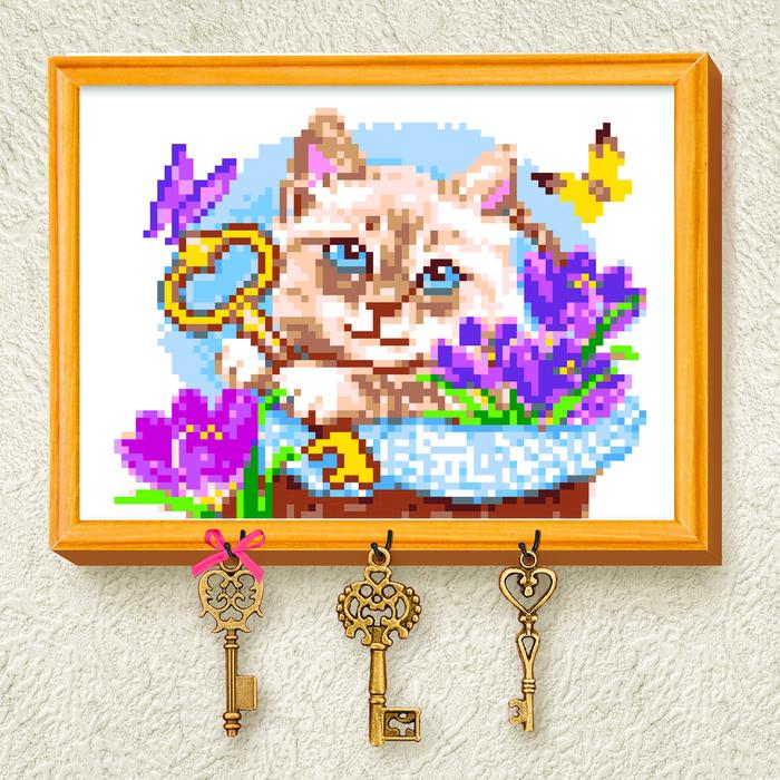 Вышивка крестиком на ключнице «Кот», 21х15 см