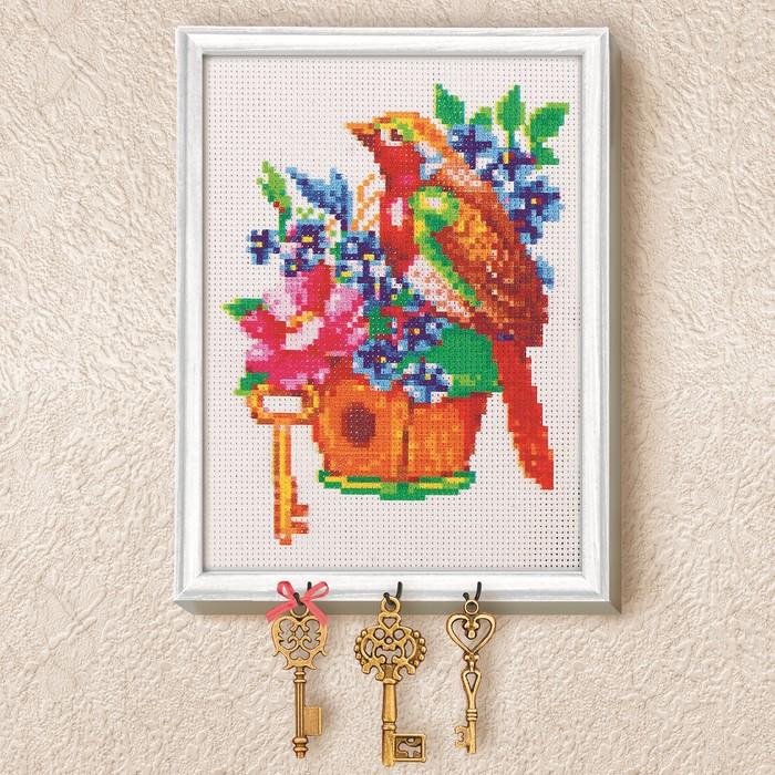 Вышивка крестиком на ключнице «Птичка», 21х15 см