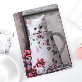 Доска разделочная «Котенок в кружке», 23×16 см