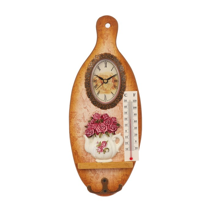 """Крючки декоративные дерево с часами """"Чайничек с розами"""" доска 29,3х12х2,9 см"""