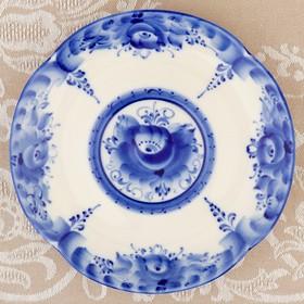 """Saucer """"Summer"""" Gzhel, porcelain, author Chaplygin, d=16 cm"""