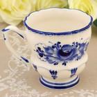 Чашка «Рельефная», гжель, фарфор, h=8 см