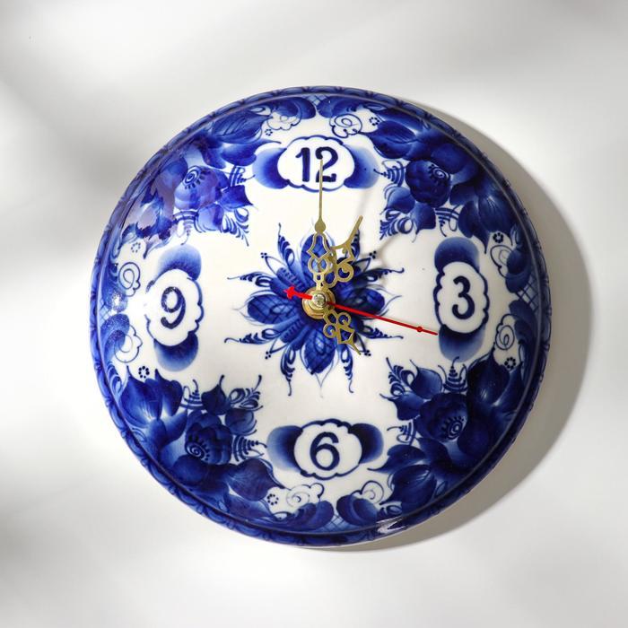 Часы настенные , гжель, фарфор, d=20 см