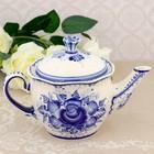 Чайник «Цветок», гжель, фарфор, h=13,5 см