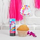 """A festive set of """"happy birthday!"""", pony: cracker, topper, garland"""