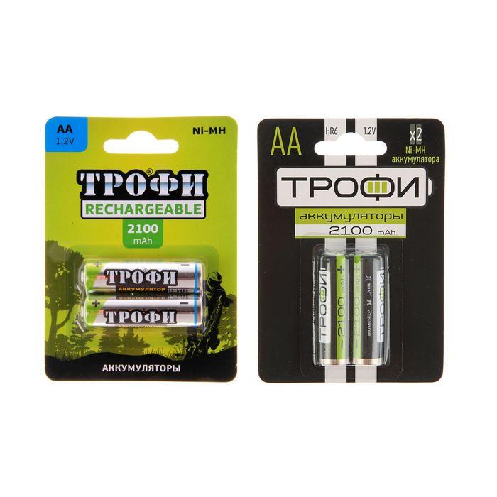 """Аккумулятор """"Трофи"""", Ni-Mh, АА, HR6-2BL, 1.2В, 2100 мАч, блистер, 2 шт."""