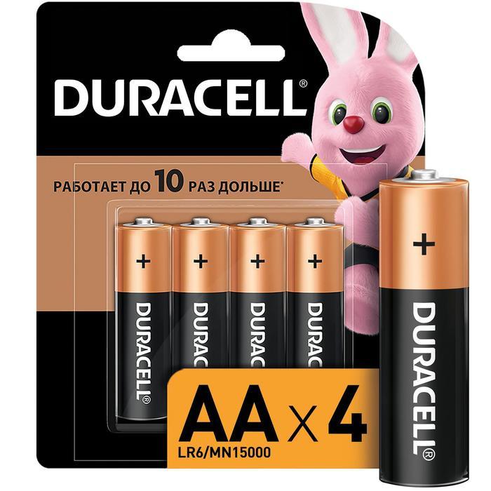 Батарейка алкалиновая Duracell Basic, AA, LR6-4BL, 1.5В, блистер, 4 шт. - фото 7508