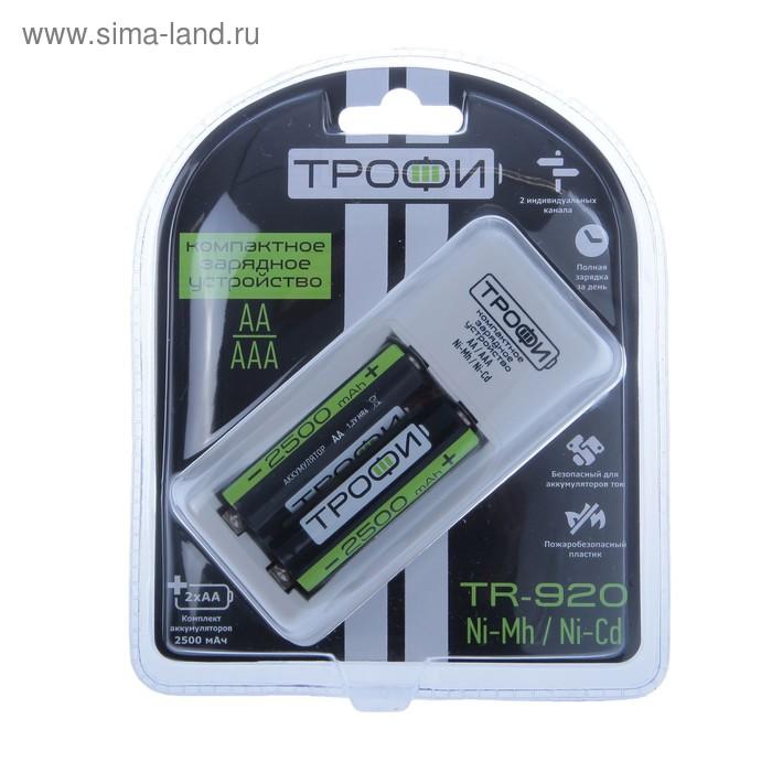 Зарядное устройство Трофи компактное, универсальное, в комплекте 2 аккумулятора емкостью 2500 mAh