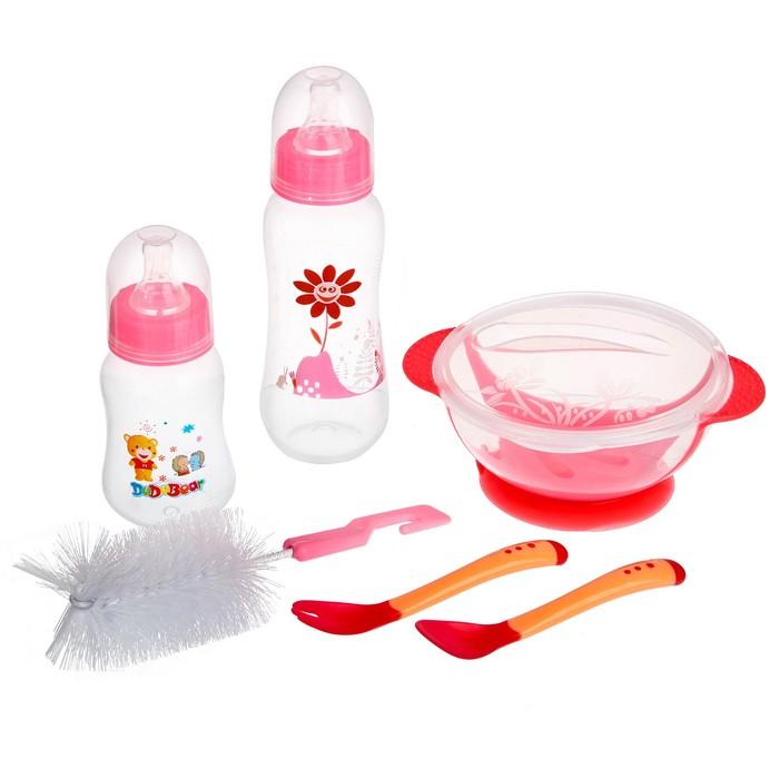 Набор детской посуды, подарочный, для девочки, 6 предметов: тарелка на присоске, столовые приборы, бутылочки 125 и 250 мл, ёршик, цвет розовый