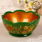 Чашка «Цветочек», резная, средняя, 15,5×15,5×8 см, зелёная хохлома