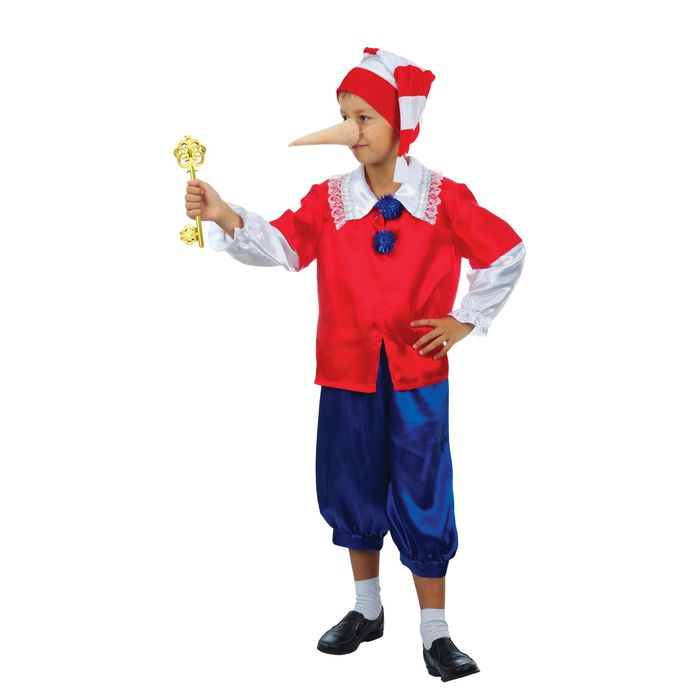 """Карнавальный костюм """"Нарядный Буратино"""", колпак, куртка, штаны, нос, рост 134 см"""