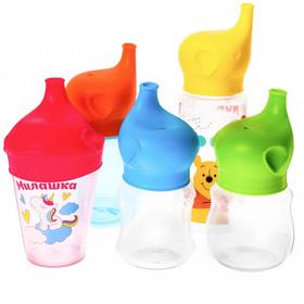 Насадка-поильник «Слоник» на бутылочку, стакан, кружку, от 5 мес., цвета МИКС