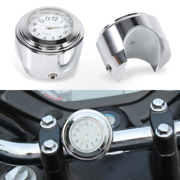 Часы мотоциклетные на руль, белый циферблат, хром