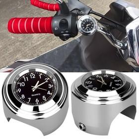 Часы мотоциклетные на руль, черный циферблат, хром