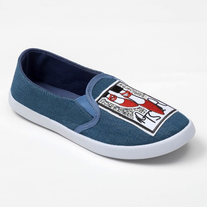 """Слипоны """"KAFTAN"""" женские с нашивкой """"Туфли"""", синяя джинса, 39 р-р"""