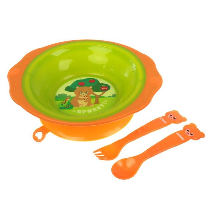 Набор детской посуды «Лесные друзья», 3 предмета: тарелка на присоске 250 мл, ложка, вилка, от 5 мес.