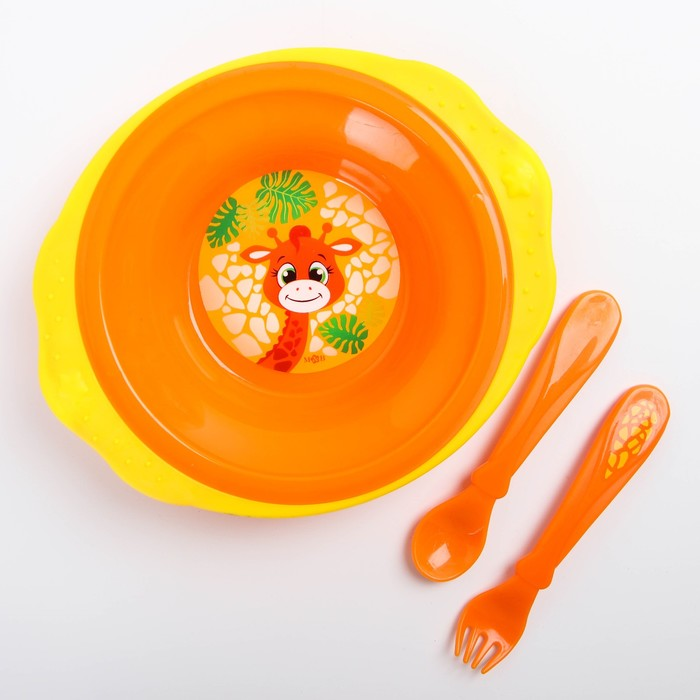 Набор детской посуды «Жирафик Лило», 3 предмета: тарелка на присоске 250 мл, ложка, вилка, от 5 мес.
