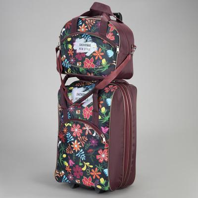 """Чемодан малый с сумкой """"Цветы"""", отдел на молнии, наружный карман, цвет чёрный"""