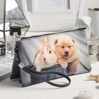 Косметичка простая «Кролик и собачка», 3 отдела на молнии