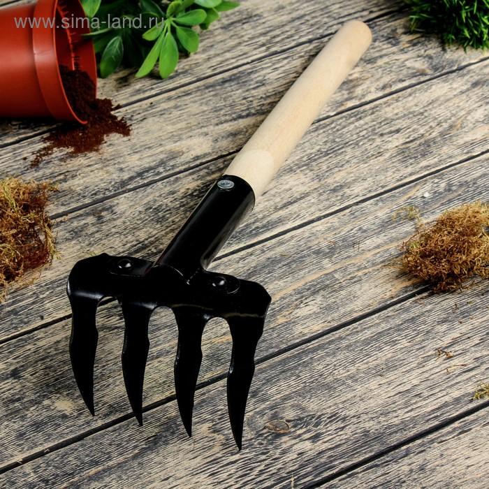 Грабли прямые, 4 выитых зубца, длина 40 см, деревянная ручка