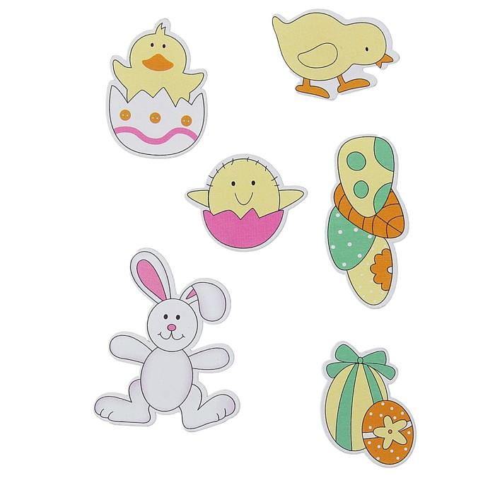"""Наклейки детские декор """"Зайчик и цыплята"""", набор 6 шт."""