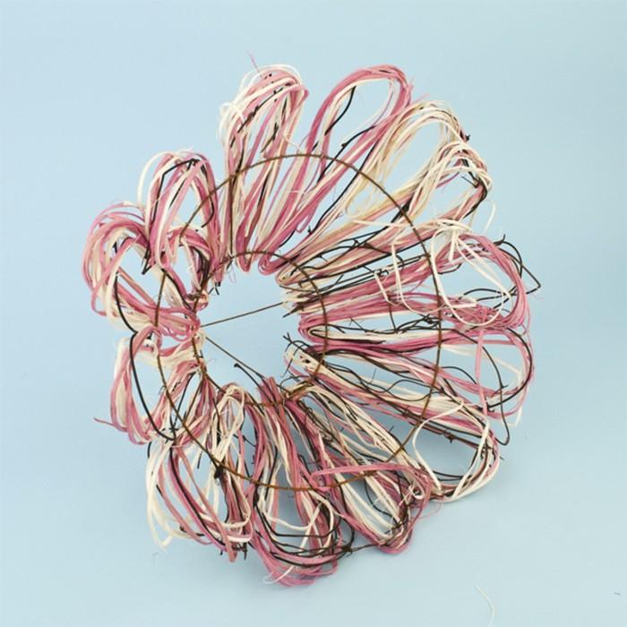 """Каркас для букета """"Маргаритка"""" ротанг, 30 см, розовый"""