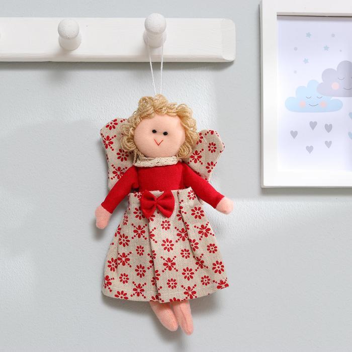 Мягкая игрушка-подвеска кукла «Ангел», блондинка, бантик на платье, цвета МИКС