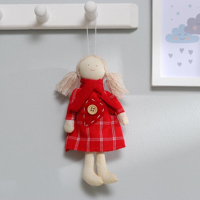 Мягкая игрушка-подвеска «Люся», кукла в шарфике, платье в клеточку, цвета МИКС