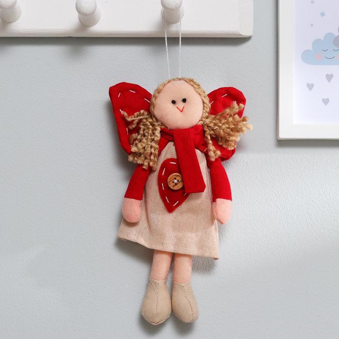 Мягкая игрушка-подвеска «Ангел», кукла с хвостиками, сердце на платье, цвета МИКС