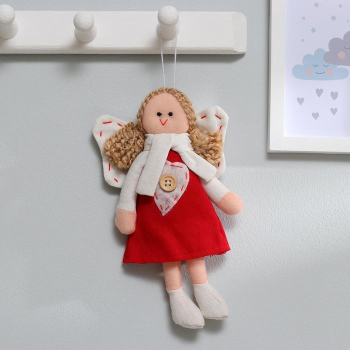 Мягкая игрушка-подвеска «Ангелок», кукла с хвостиками, сердце на платье, цвета МИКС