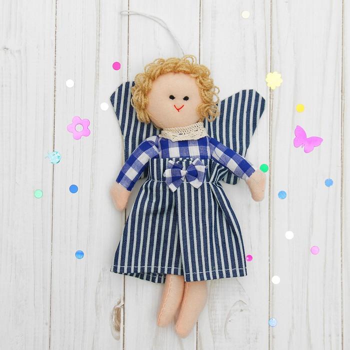 Мягкая игрушка-подвеска «Ангелочек», кукла с крыльями, бантик на платье, цвета МИКС